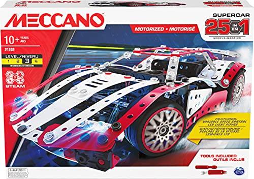 MECCANO- MEC Multi Model Set CN GML, Kit de construcción 25 en 1 Supercar Stem con 347 Piezas, Herramientas Reales y...