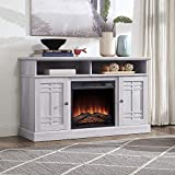 BELLEZE Modern Farmhouse Electric Fireplace TV Stand & Media Entertainment Center Console Table for TVs up to 50 Inch with Open Storage Shelves & Cabinets – Norrell (Sargent Oak)