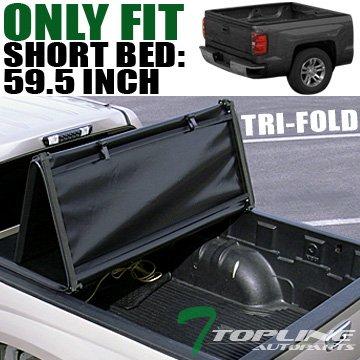 "Topline Autopart Tri Fold Soft Vinyl Truck Bed Tonneau Cover For 05-19 Nissan Frontier / 09-12 Suzuki Equator Crew Cab 5 Feet (60"") Short Bed"