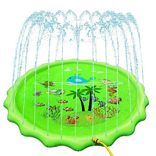 HNZNCY Esterilla inflable de agua de 67 pulgadas para niños de verano y mascotas jugando al agua, alfombra de juego de césped para jugar al aire libre, bañera y piscina (verde)