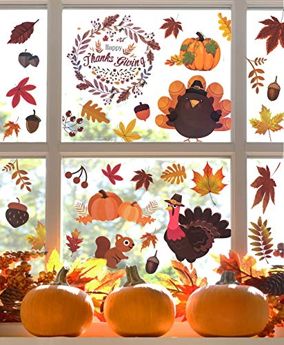 Bassion 180Pcs Fall Window Clings Decorations - Autumn Maple Leaves Turkey Pumpkin Stickers Decals for Thanksgiving Decor