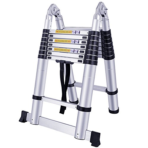 LARS360 5.0M Escalera telescópica Escalera multifunción Escalera extraíble Escalera de escalera Escaleras de uso múltiple Escalera de aluminio de alta calidad (5.0m, escalera plegable)