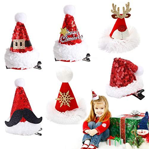 6 Stück Weihnachten Haarspange,Haarspange für Weihnachten,Weihnachten haarschmuck kinder,weihnachten haarschmuck damen,Weihnachten Hut Haar-Accessoires,Weihnachten Party,Weihnachten haarschmuck (C)