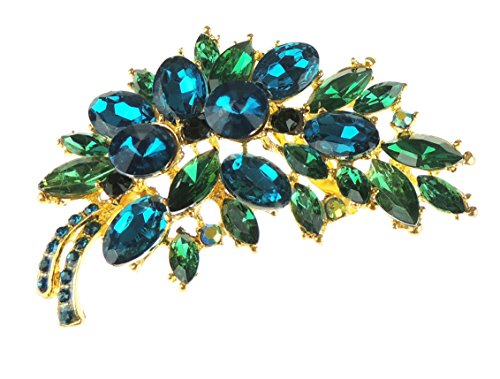 Glamour Girlz Ladies Extra Sparkly Bouquet Floral Large 7cm Lapel Brooch Jade Green Chunky
