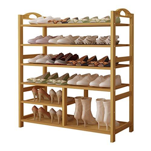 ZZYE Zapatero 6 niveles Zapatos de bambú Rack - Tacones altos mejorados Botas de almacenamiento Organizador de almacenamiento Estante de zapato para sala de estar de vestíbulo Estantes de soporte de f
