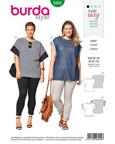 Burda 6445 Schnittmuster Shirt (Damen, Gr. 46-60) Level 1 super Easy