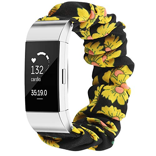 TOYOUTHS Compatible with Fitbit Charge 2 Bands Scrunchie Women Elastic Stretchy Cloth Fabric Strap Pattern Printed Bracelet Sport Replacement Charge 2 HR Wristband Accessories (Sunflower, Large)