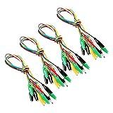 Makerstack Set di cavi di prova da 40 pezzi con clip a coccodrillo Cavi a ponticello a due estremità con 5 colori (2.7CM)