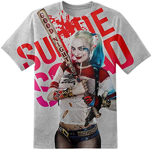 Digital Pharaoh Herren Harley Quinn Baseballschläger Pose Suicide Truppe Distressed T-Shirt - Mehrfarbig, L