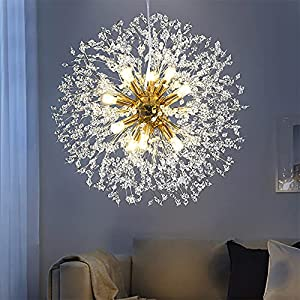 MSUN Modern Living Room Dandelion Chandeliers,Gold Crystal Fireworks Sputnik Ceiling Light Fixture ,12-Light Pendant Lighting for Dining Room Bedroom Bathroom Kitchen Foyer Girls Room