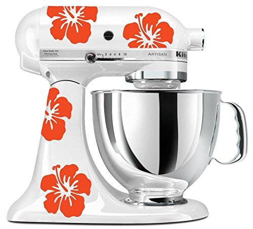 myrockshirt Hibiskus Blüte für Haushaltsgeräte Mixer etc. 4 Stück hochwertige UV-beständige Aufkleber für Auto,Wand,Laptop,Fliesen,B