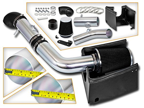 Cold Air Intake System with Heat Shield Kit + Filter Combo BLACK Compatible For 05-08 Ford F150 5.4L V8