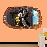 Pegatinas de pared PEGATINA DE PARED DE PERSONAJE DE DIBUJOS ANIMADOS DE TWEETY ARTE 3D MURAL DE DECORACIÓN DE HABITACIÓN REVESTIDA MURAL Decoración infantil de pared