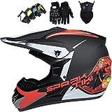 Casco de motocross,Conjunto de casco integral MTB con gafas, máscara, guantes,Casco protección para niños todoterreno para Dirt Bike MX Quad ATVEquipo de protección para motocicleta para niños, rojo