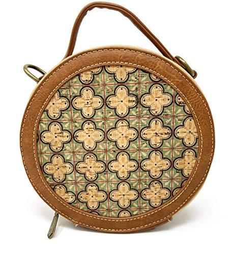 CORKCHO Bandolera de mujer en corcho natural bolso de mano con correas ajustables y diseño redondo con estampado floral verde