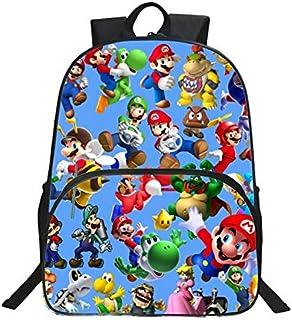 YUNDING Mochila Escolar Mario 2020 muñeca de Anime para niños, Mochilas con Estampado de Super Mario para niños y niñas, B...