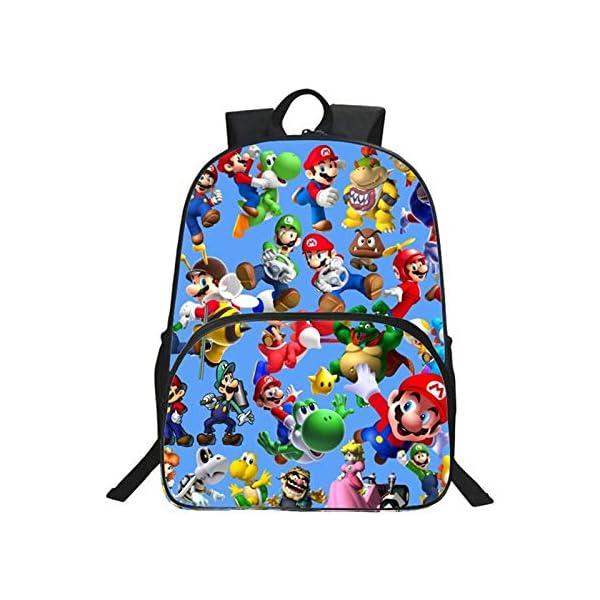 YUNDING Mochila Escolar Mario 2020 muñeca de Anime para niños, Mochilas con Estampado de Super Mario para niños y niñas…