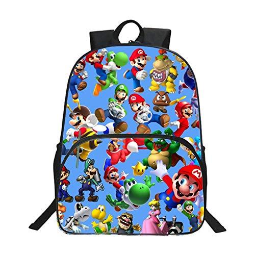 YUNDING Mochila Escolar Mario 2020 muñeca de Anime para niños, Mochilas con Estampado de Super Mario para niños y niñas, Bolsa de Mario Bros, Regalos de cumpleaños para Estudiantes
