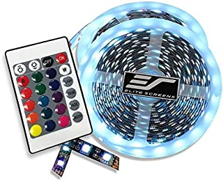 Elite Screens Projector Projection Screen LED KIT Strip Lights Multi Colored Rope with Remote Control (110-inch Diagonal S...