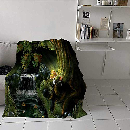 Lightweight Soft Blanket Imaginary Waterfall in the Forest at Night Mushroom Dark Secret Nature Print Summer Travel Blanket Perfect for Hot Weather or Hot Sleepers Green Grey Brown (72 x 54 Inches)
