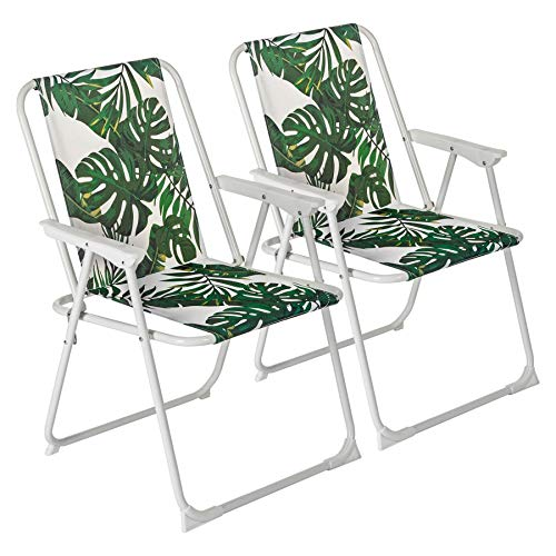 Harbour Housewares 2 Piece Folding Beach Arm Chair Set - Lightweight Canvas...