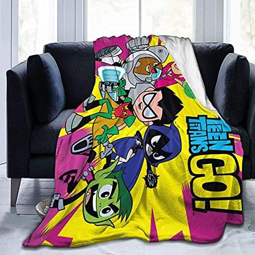 Yeeatz - Coperta in pile per adolescenti Titans Go in flanella di peluche, per casa, letto, divano, divano, resistente alle pieghe, misura 152,4 x 50 cm