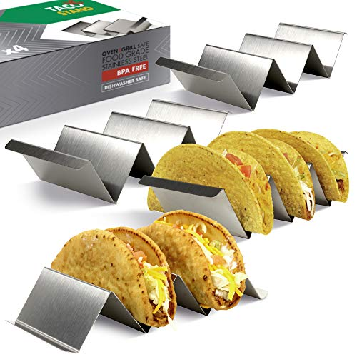 Taco Holder Set of 4 - Stainless Steel Taco Stand