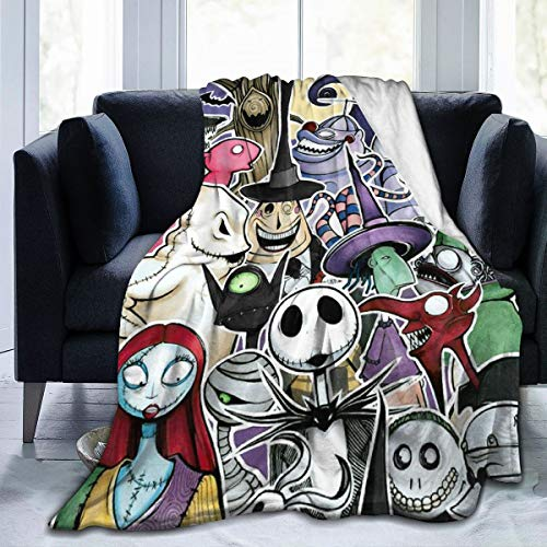 Nightmare Before Christmas Ultra Soft Throw Blanket Flannel Fleece All Season Light Weight Living Room/Bedroom Warm Blanket ,Black ,50'' x40