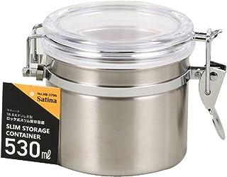 パール金属 保存容器 18-8 ステンレスキャニスター 密封びん 透明カバー 530ml スリム ロック式 サティーナ HB-3796