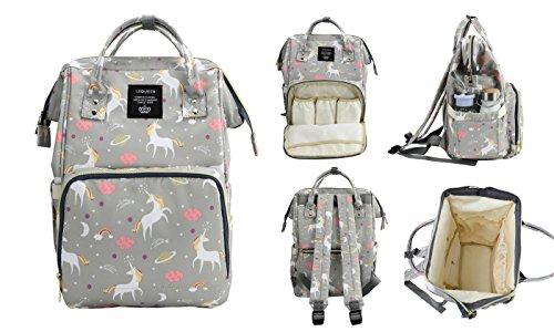 Wide Open Diaper Bag Backpack, Large Capacity, Multi Function Organizer, Waterproof, Unicorn (Light Gray)