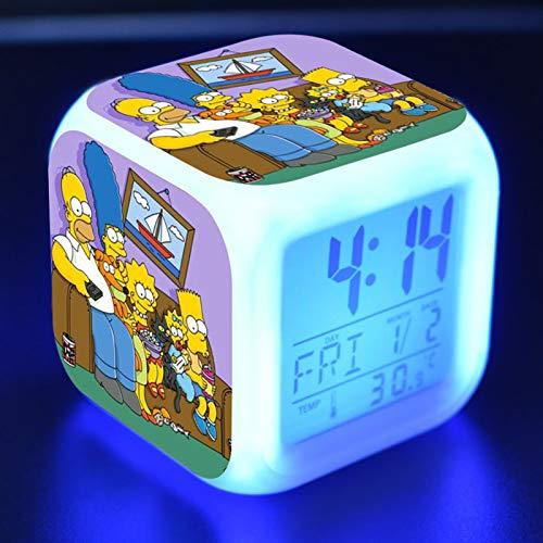 FJNS The Simpsons Despertador para Niños Reloj Despertador Digital con 7 Colores Luz de Noche 8 Sonido de Alarma Función Snooze Calendario y Temperatura,3