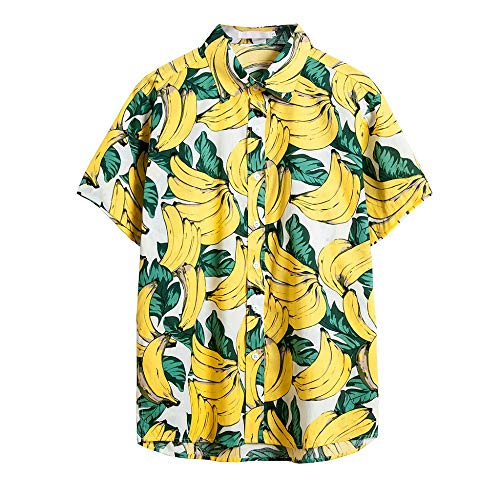 MMUJERY camisa hawaiana hombre verano Camisa de manga corta para hombre casual suelta Patrón de plátano hawaiana Top con estampado Amarillo