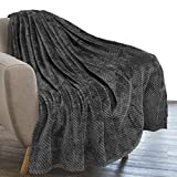 PAVILIA Waffle Textured Fleece Throw Blanket for Couch Sofa, Charcoal Gray | Soft Plush Velvet Flannel Blanket for Living Room | Fuzzy Lightweight Microfiber Throw for All Seasons, 50 x 60 Inches