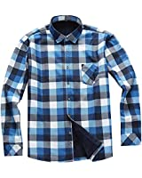 AOLIWEN Men's Long Sleeve Shirts- Thermal Work Padded Warm Shirts Quilted Lined Flannel Heavyweight Plaid Fleece Shirt(C9058,S)