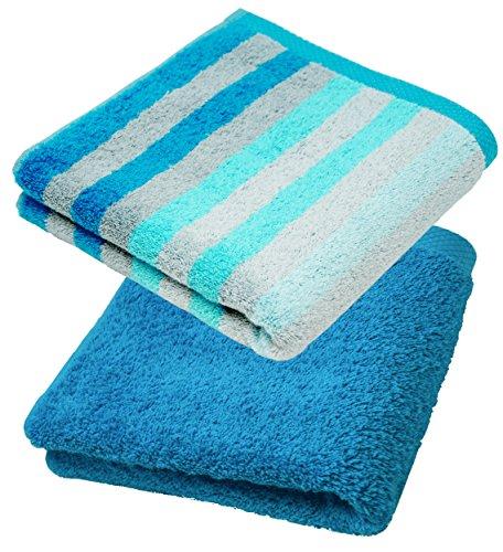 Lashuma Handtuch Set 50x100 cm, 2X Frotteetücher Gestreift - Einfarbig, Farbe: Türkis - Blau
