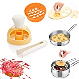 2Pcs Donut Maker, 3 inch Pineapple Donut Mold Donut Cutter with Removable Center, Mini Doughnut Maker DIY Doughnut Cutter with Dipping Plier, for Bread Desserts Kitchen Baking Tool