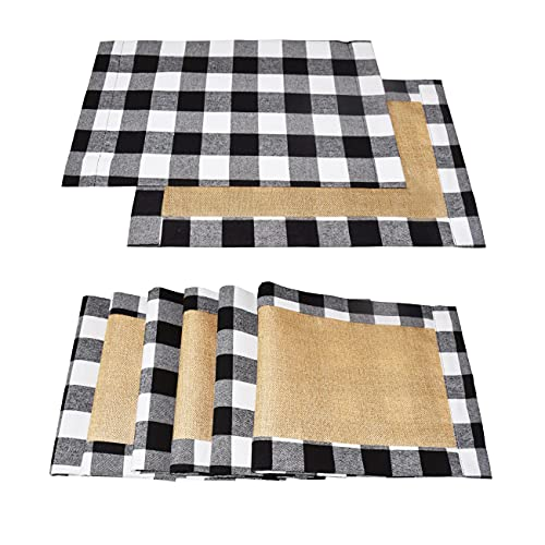 Senneny Set of 6 Christmas Placemats Buffalo Check Placemats Plaid Reversible Burlap & Cotton Placemats for Christmas Holiday Table Home Decoration (Black and White)