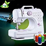 Portable Sewing Machine for Adult Beginners Electric Household Mini Sewing Machine Tool, 12 Built-in Stitches, 2 Speeds Double Thread, Thread Cutter and Foot Pedal Included for DIY