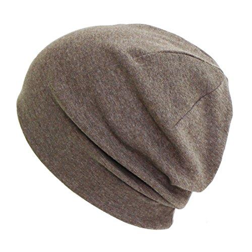 抗がん剤/医療用帽子 オーガニック シンプルニットキャップ 【秋冬春用】 (M, ブラウン)