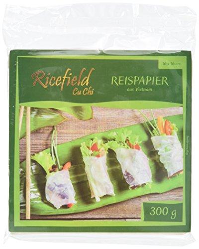 Ricefield Reispapier, viereckig, 16 cm (1 x 300 g Packung)