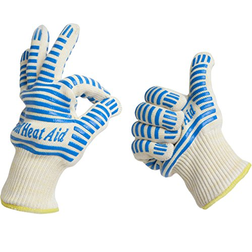 Heat Resistant Gloves, 932°F EN407 Certified. Thick but Light-Weight, Flexible for...