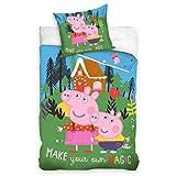 Carbotex Peppa Pig - Biancheria da letto per bambini 135 x 200 + 80 x 80 cm