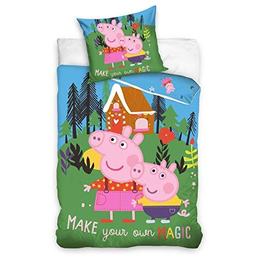 Peppa Pig Magic - Juego de funda de edredón para cama individual, tamaño europeo