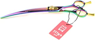 LILYS PET HIGH-END Series 8-Inch Japan 440C Rainbow Color Pet Grooming Two-Way Curved Scissor,Delicate Gold Screw with Drilling