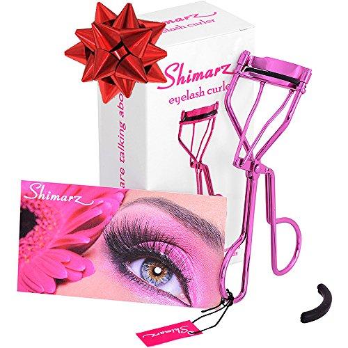 Shimarz Eyelash Curler Extra Refill Pad Included, Curls Eyelashes Effortlessly, Lightweight Sparkling Metallic Magenta Frame, Great Addition to Your Eyelash Applicator Tool & False Lashes Kit