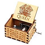 Pursuestar Wood Hand Crank Engraved Vintage Wooden Music Box Wedding Valentine Christmas Birthday Gift - Bohemian Rhapsody (Queen)