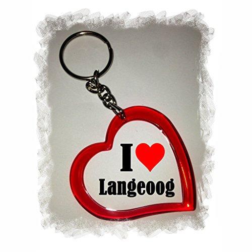 Druckerlebnis24 Herz Schlüsselanhänger I Love Langeoog - Exclusiver Geschenktipp zu Weihnachten Jahrestag Geburtstag Lieblingsmensch