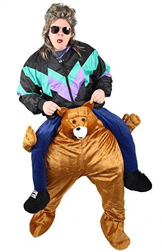 Foxxeo Lustiges Carry Me Bären Kostüm Huckepack Kostüme Aufsitzkostüm Tier Teddybär für Erwachsene Herren Damen