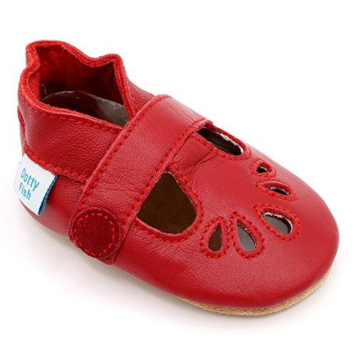 Dotty Fish Zapatos de Cuero Suave para bebés. Niñas. T-Bar en Rojo. 6-12 Meses (19 EU)