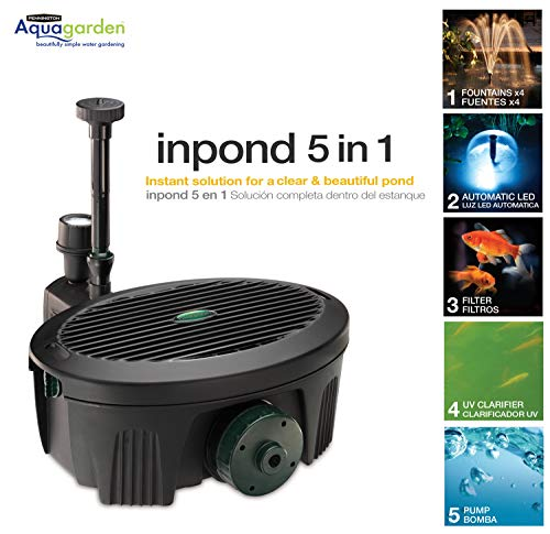 Aquagarden Pennington, Inpond 5 in 1 Pond & Water Pump, Filter, UV Clarifier, LED Spotlight and Fountain